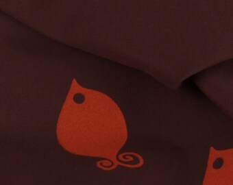 "Brown with Orange Fish Woven Fabric - 54"" Wide - 2.5 Yard (PV-859)"