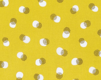 Erin McMorris Noteworthy Buttons in Mustard cotton quilt fabric - one yard or by the yard, erin mcmorris fabric