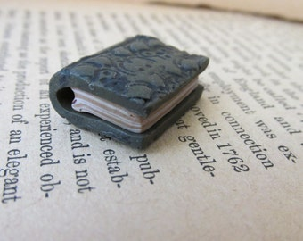 Book Charm Book Bead Book Pendant for Necklace Bracelet Earrings Handmade Jewelry Supply Olive Green Polymer Clay Michele Gabriel Studio