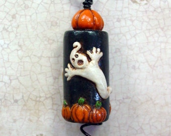 Halloween Ghost polymer clay pendant TDozier