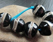 6 black and silvered ivory lampwork nugget beads