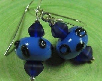 Blue bubble drops earrings Sterling silver