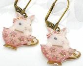 Pink Bunny Rabbit Earrings Teacup Bunnies - White Rabbit Jewelry - Bunny Earrings