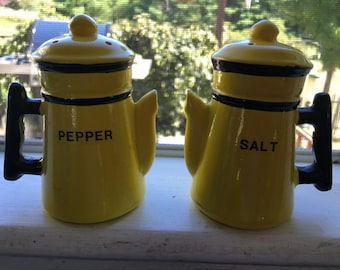 Vintage Mid-Century Yellow and Black Ceramic Salt and Pepper Shakers Coffee Pot Design Handle and Spout Lid
