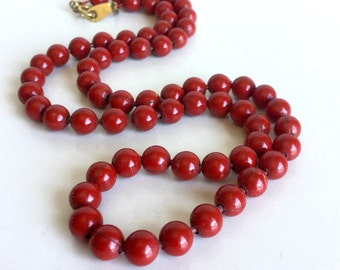 Vintage Red Metal Ball Chain Necklace, Glossy Shiny Rich Red Finish - Nice Weight & Feel - Gold Flower Clasp - 18-19 Inch Layering Piece