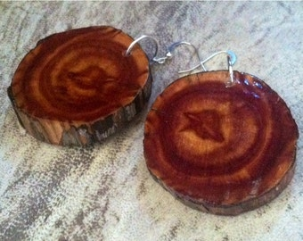 Cedar wood earwires earrings natural stone Earrings