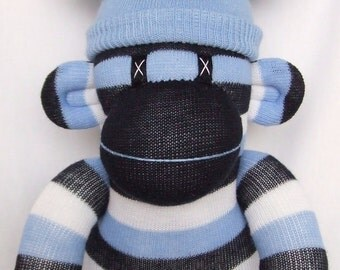 Dark blue striped Sock Monkey (made to order)