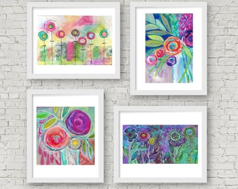 buy any three get one free, any four prints, buy 3 get 1 free, mixed media, painted blossoms, flower art, art wall, collage wall, blooms