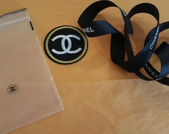 Authentic CHANEL Ribbon Patch REPAIR Kit in ziplock Bag Black White Gold yellow CC Recycle Upcycle
