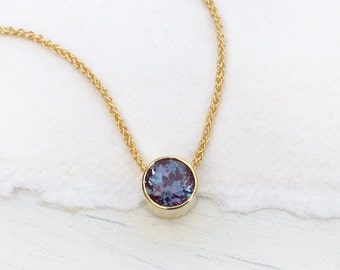 Alexandrite Necklace in 18k Gold, June Birthstone, Lab Grown Stone, Handmade in the UK