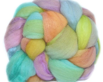 MERINO SILK handdyed wool roving top spinning or felting fiber 3.7oz