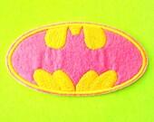 Batman Bruce Wayne Classic DC Comics Caped Crusader Logo Yellow on Pink Iron or Sew On Patch