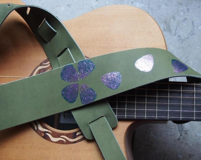 Pick Petals Leather Guitar Strap