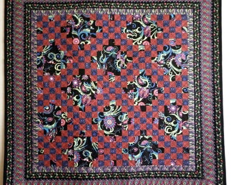 Floral Irish Chain Wall Quilt in Black, Pink, Purple floral Lap throw blanket or table topper