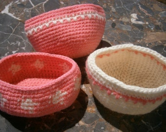 3 Handmade Small Yarn Bowls for Beads, Babies, Home Decor, Crocheted Yarn Bowls