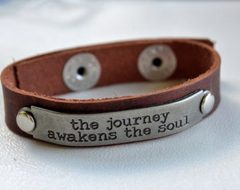 Leather Inspirational Word Cuff with Metal Plate