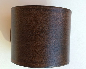 "2"" Wide  Brown Leather Cuff Wristband Bracelet by Shaterra"