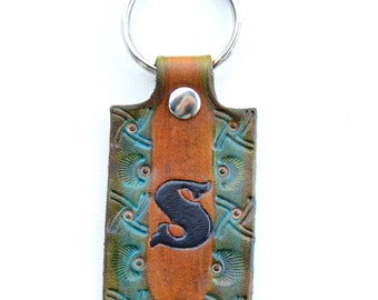 Initial Leather Key Chain, Leather Key Ring