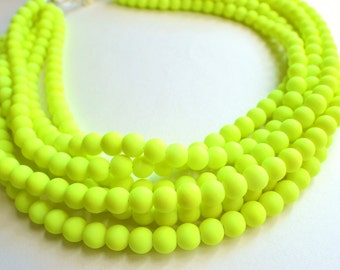 The Michelle- Neon Yellow Matte Statement Necklace
