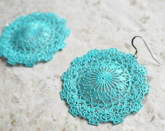 The Sherry- Green Patina Silver Filigree Earrings