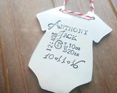 Baby's First Christmas Personalized  Ornament - Hand Stamped Christmas Ornament - Onesie Baby Stats Ornament - Custom Christmas Gift