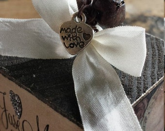 MADE WITH LOVE Heart Charm, Add a Charm to any of our Ornaments, Antique  Silver