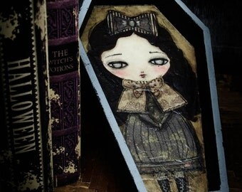 Selene, the vampire. An original mixed media collage painting on coffin shaped wood panel by Danita Art