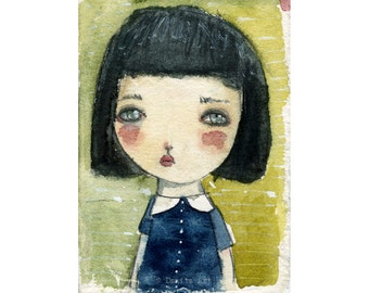 Belle - Giclee Reproduction Of Original Watercolor Painting By Danita Art (Paper Prints and ACEO Wood Mounted)