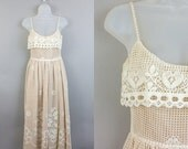 25% off sale Vtg Victor Costa off White Crochet Lace spaghetti strap wedding festival dress sz XS