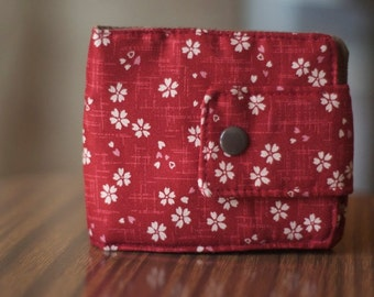 Fabric Wallet | Vegan wallet | Minimalist Wallet | Red wallet |  Billfold Wallet | Flower Wallet