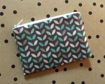 Small Pouch - Mint and Grey Leaf Print - zipper pouch - change purse - wallet