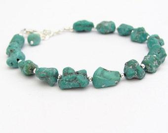 Turquoise Gemstone Bracelet, Sterling Silver, Turquoise Nugget Bracelet, Blue Green Nuggets, Turquoise Matrix Jewelry, Southwestern Style