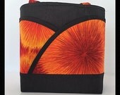 Orange tote bag, black handbag, orange handbag, black tote bag, Womens orange purse, fireworks, orange fireworks handbag,