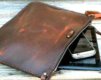Leather Portfolio / Handmade Leather Pouch / Mens Zipper Bag / Brown Leather / Leather Clutch / Large Zipper Clutch / Feral Empire