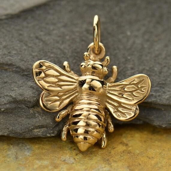 Large Bronze Honey Bee Bumblebee Charm