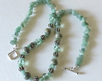 Necklace with Emerald Chips, Handmade Lampwork Beads and Sterling Silver, Smokeylady54