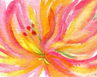 ACEO Original Watercolor Dahlia Painting, Pink and Yellow Art Card, watercolor flower, floral painting, floral art