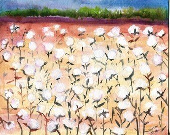 Cotton painting, Cotton Bolls Painting 8 x 10  watercolors paintings original,  cotton field painting, SharonFosterArt  Farmhouse Decor