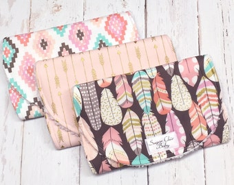Boho Inspired Burp Cloths for Baby Girl - Set of 3 - Super Absorbent Triple Layer - Tribal, Arrows, Metallic Gold  - BOHO ARROWS & FEATHERS