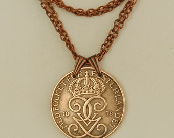 Sweden Coin Necklace 1938 Crowned Monogram