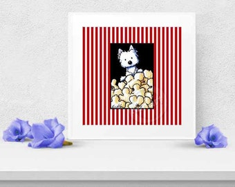 Westie Terrier Popcorn Lover Signed Reproduction Art PRINT