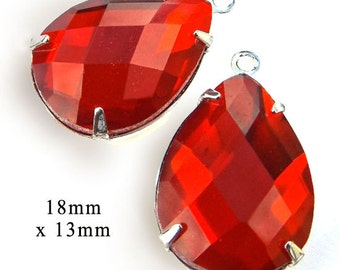 Light Siam Red Glass Beads, Pear or Teardrop, Silver Plated Brass Settings, 18mm x 13mm, Cabochon, Glass Gems, Rhinestone Jewels, One Pair