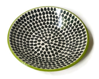 Large Ceramic Serving Bowl Black and White Scales with Apple Green Rim