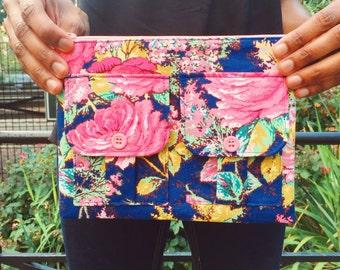 Wristlet Handbag Blue Brigade Wallet Wristlet, Zipper Pouch, Clutch Wristlet, iPhone Wristlet, Fabric Wallet, Small Floral Purse