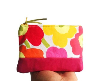Pink Small Poppy Leather Coin Purse, Floral Leather Change Purse, Coin Wallet, Change Wallet, Floral Wallet,  144 Collection