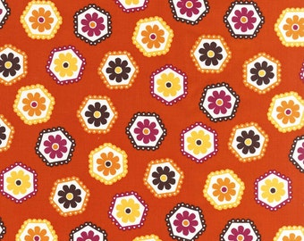 Stitch Organic Tossed Hexies in Orange - One yard