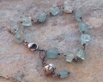 RAW Aquamarine bracelet, March birthstone, Aquamarine nugget bracelet, sterling silver, stacking bracelet