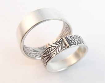 Wedding Band - Sterling Silver Wedding Ring Set 14k Rose Gold - Sunflower- Men's Wedding Band - Women's Wedding Band Set