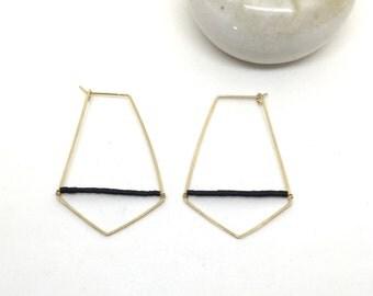Hammered Diamond Hoop earrings with Black Jade