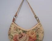 80s Romantic FLORAL Slouch Shoulder Bag Purse